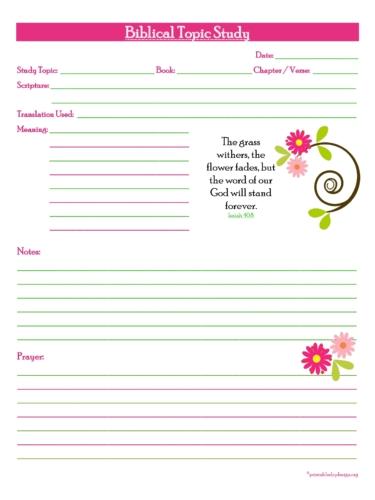 Biblical Topic Study Prayer Juornal Free Printable