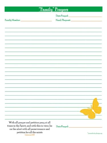 Family Prayers- { Full Prayer Page} Free Prayer Journal Printable
