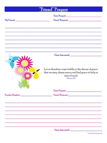 Friend Prayers {2short Prayers} Free Prayer Journal Printable