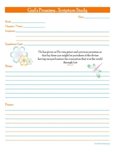 God's Promises... Scripture Study Free Prayer Journal Printable
