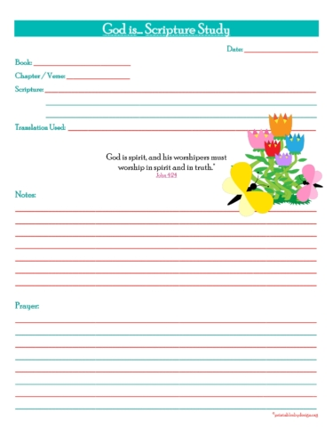 God is... Scripture Study Prayer Journal Free Printable.
