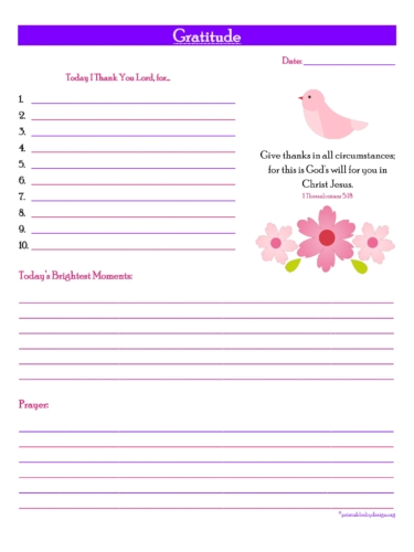Gratitude Prayer Journal Free Printable