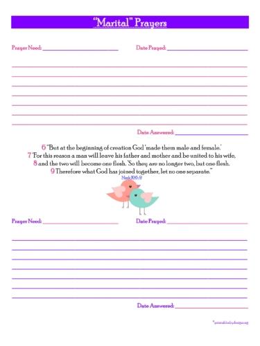 Marital Prayers {2 Short Prayers} Free Prayer Journal Printable