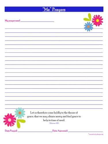 Me Prayers- {Full Prayer} Free Prayer Journal Printable