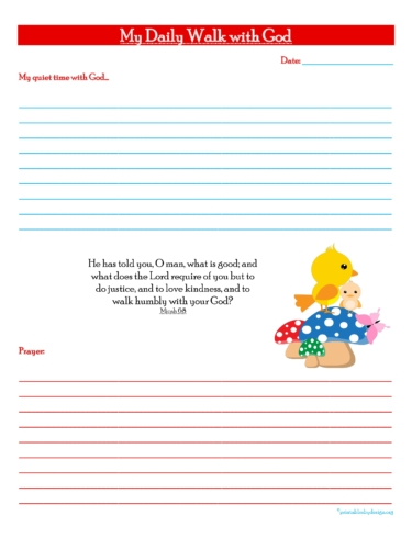 My Daily Walk With God Free Prayer Journal Printable