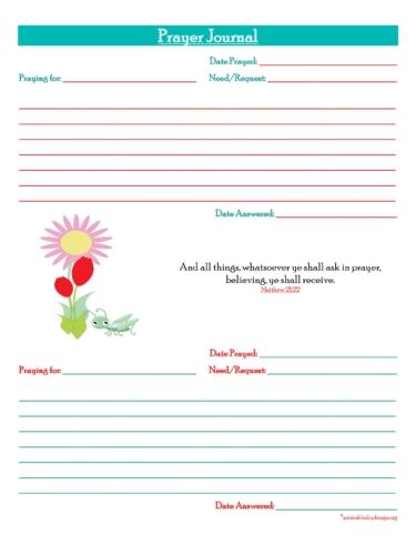 Prayer Journal {2 Short Prayers} For anyone. Free Prayer Journal Printable