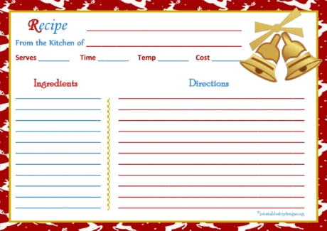 Reindeer Christmas Background Recipe Card 5x7
