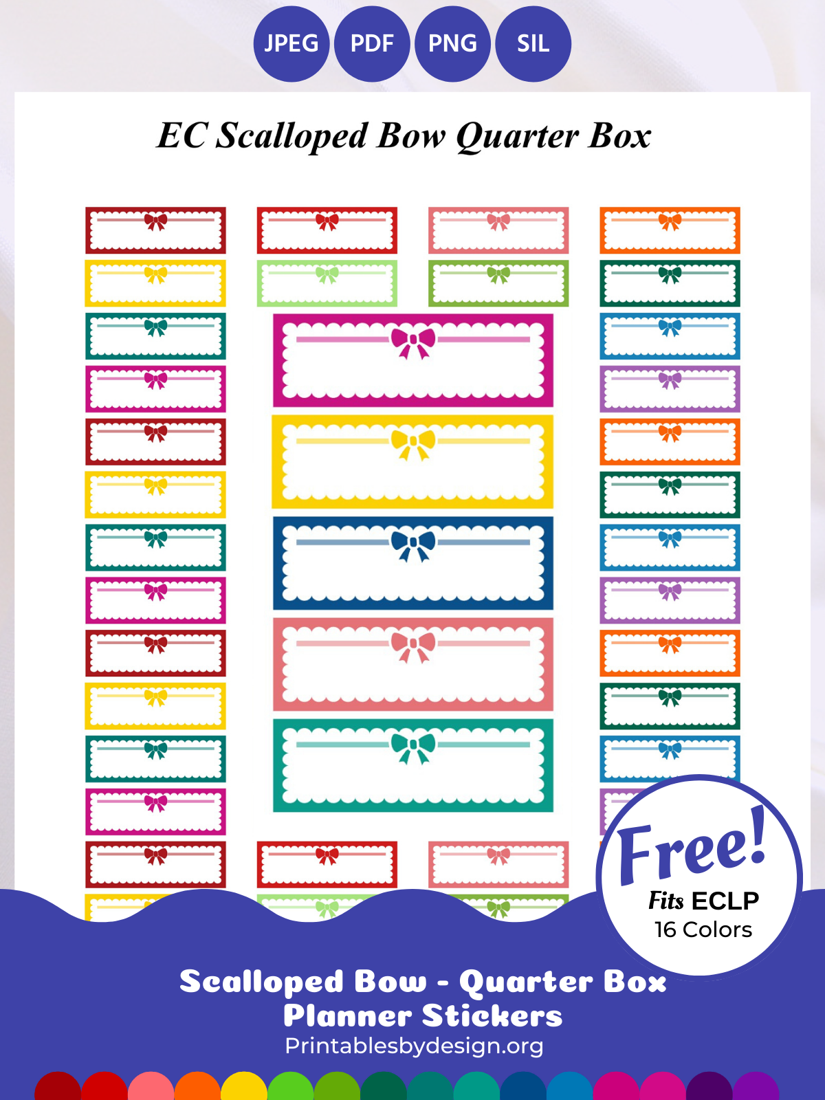 Erin Condren Planner Stickers Quarter Box Printable Stickers Cut Files 70/% OFF Sale Bow Quarter Box Printable Planner Stickers